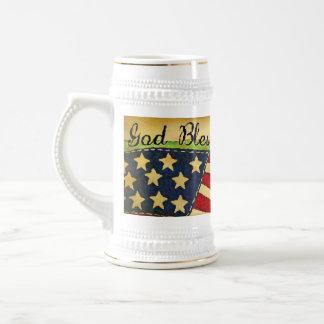 Primitive Old Glory God Bless America Stein Coffee Mugs