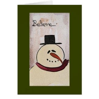 Primitive Painted Snowman Christmas Card