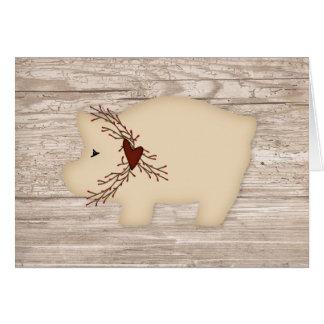 Primitive Pig Note Card