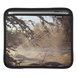 Primitive Pine Tree Woodland Winter Forest iPad Sleeve