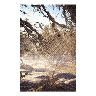 Primitive Pine Tree Woodland Winter Forest Stationery
