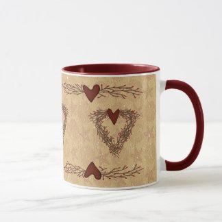 Primitive Pip Berry Heart Wreath Mug