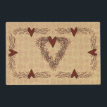 "Primitive Pip Berry Heart Wreath Vinyl Placemats<br><div class=""desc"">These Primitive Pip Berry Heart Wreath Vinyl Placemats are perfect for your Primitive Country Kitchen or Dining Room.</div>"