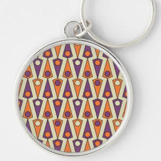 Primitive Purple & Orange Borneo Pattern Silver-Colored Round Keychain