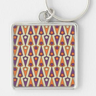 Primitive Purple & Orange Borneo Pattern Silver-Colored Square Keychain