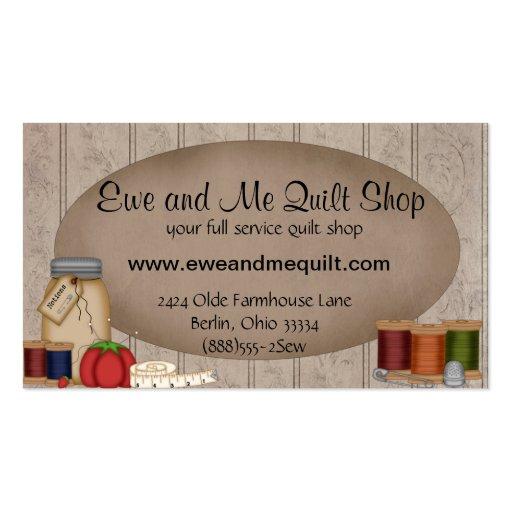 primitive quilt shop business card template zazzle. Black Bedroom Furniture Sets. Home Design Ideas