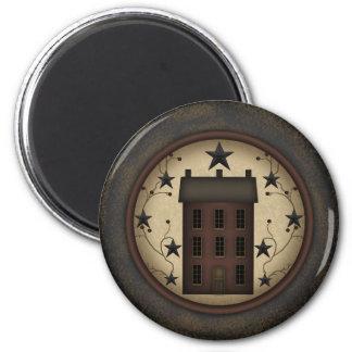 Primitive Red Saltbox House Magnet