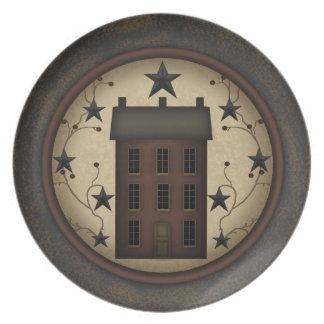 Primitive Red Saltbox House melamine Plate