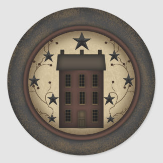 Primitive Red Saltbox House round sticker