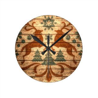 Primitive Reindeer Snowflakes Nordic christmas Round Clock