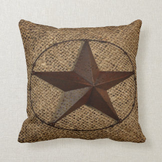 Primitive rustic burlap western country texas star throw pillow