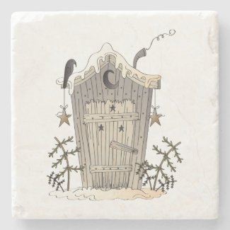 Primitive Rustic Outhouse and Crow Stone Coasters