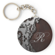 primitive rustic Western Country paisley pattern Keychain