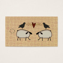 Primitive Sheep And Crows Hang Tag
