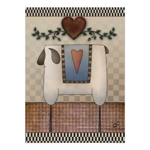 Primitive sheep and heart posters