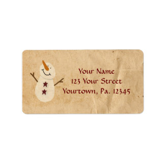 Primitive Snowman Address Label