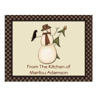 Primitive Snowman and Crow Recipe Cards Postcards