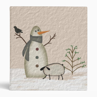 Primitive Snowman Binder