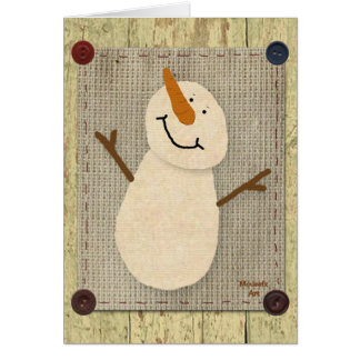 Primitive Snowman Card