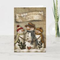 Primitive Snowman Christmas Greeting Card