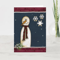 Primitive Snowman Christmas Greeting Card