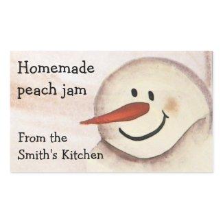 Primitive Snowman Christmas Jar Sticker