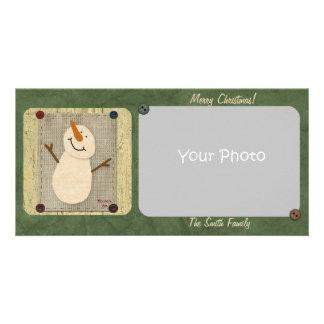 Primitive Snowman Christmas Photo Card