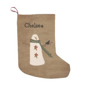 primitive snowman christmas stocking - Primitive Christmas Stockings