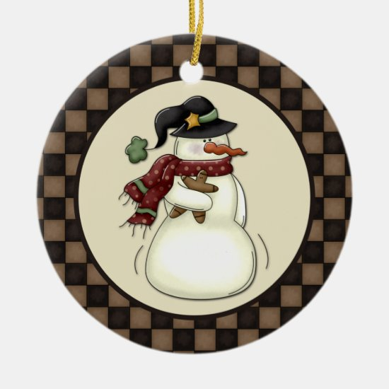 Primitive Snowman Gingerbread Man Ceramic Ornament