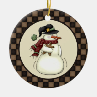 Primitive Snowman Gingerbread Man Double-Sided Ceramic Round Christmas Ornament