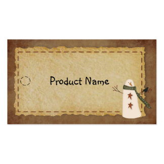 Primitive Snowman Hang Tag Double-Sided Standard Business Cards (Pack Of 100)