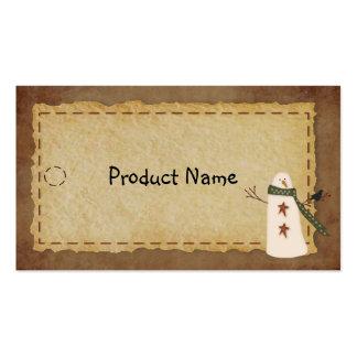 Primitive Snowman Hang Tag Business Card