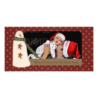 Primitive Snowman Holiday Photo Card