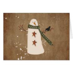 Primitive Snowman Large Font Christmas Card at Zazzle