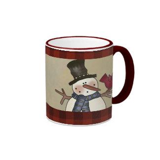 primitive snowman mugs