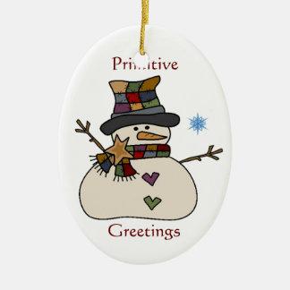 Primitive Snowman Ornament