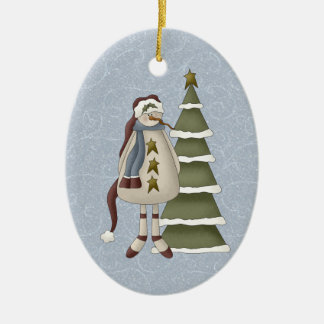 Primitive Snowman Double-Sided Oval Ceramic Christmas Ornament