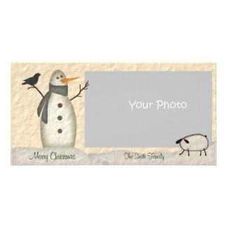 Primitive Snowman Photo Card