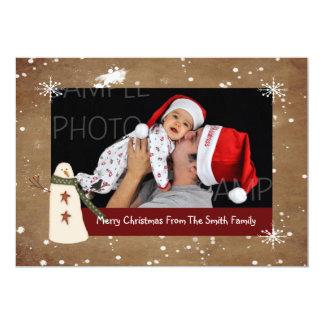Primitive Snowman Photo Christmas Card