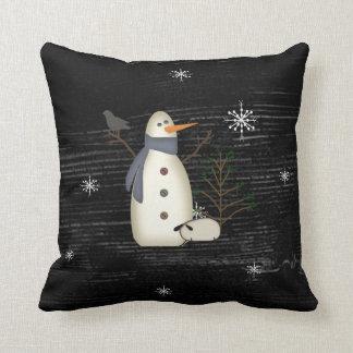 Primitive Snowman Pillow