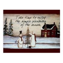 Primitive Snowman Postcard