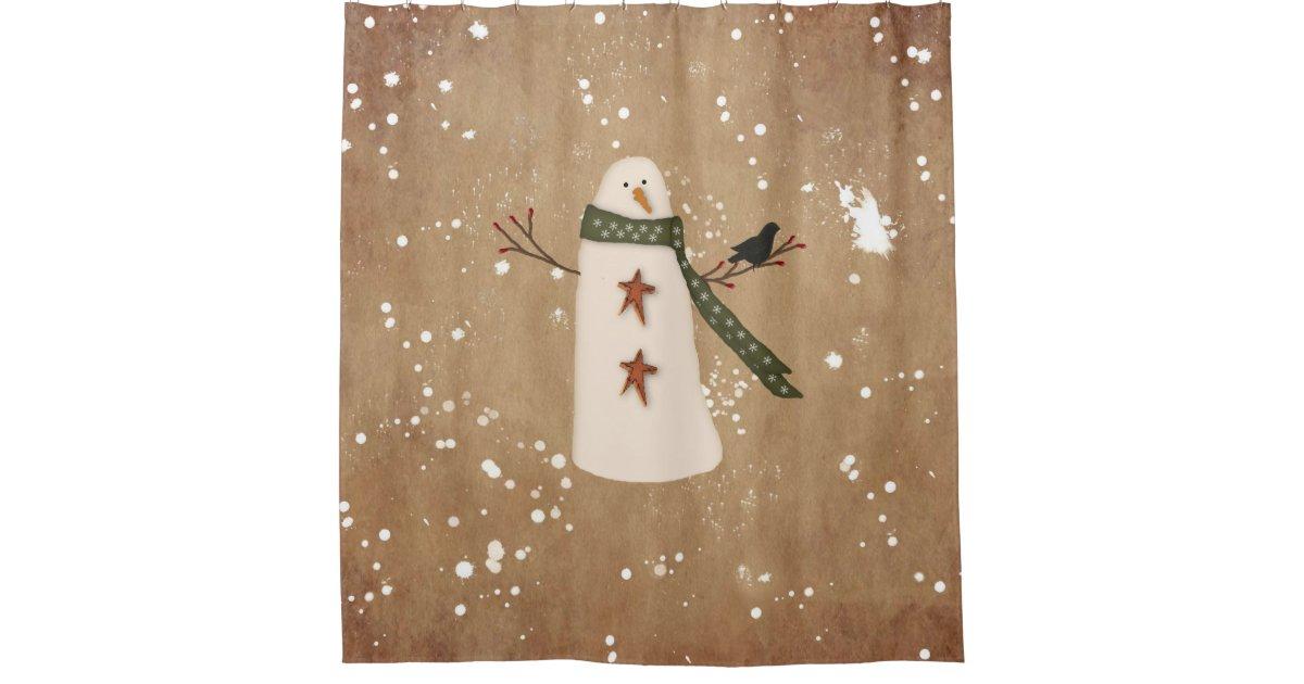 Primitive Snowman Shower Curtain   Zazzle.com