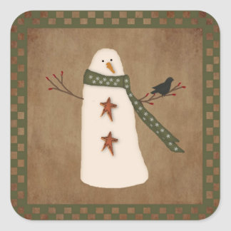 Primitive Snowman Sticker