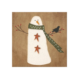 Primitive Snowman Stretched Canvas Print
