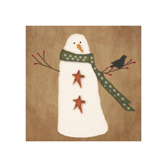 Primitive Snowman Stretched Canvas Print