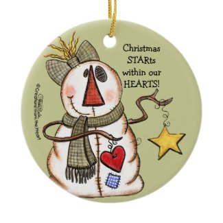 Primitive Snowman with Heart and Star ornament