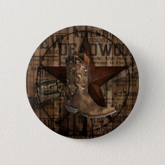 Primitive Star Grunge Western Country Cowboy Button