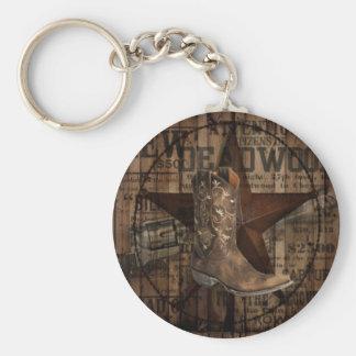 Primitive Star Grunge Western Country Cowboy Keychain