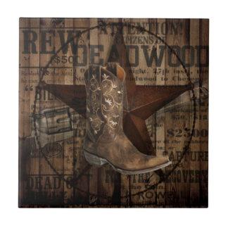 Primitive Star Grunge Western Country Cowboy Tile