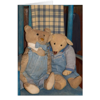 Primitive Teddy Bears in Blue Greeting Card